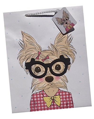 Colorifics Terrier Dog Sketch with 3-D Glasses Gift Bag with Gift Tag, Large