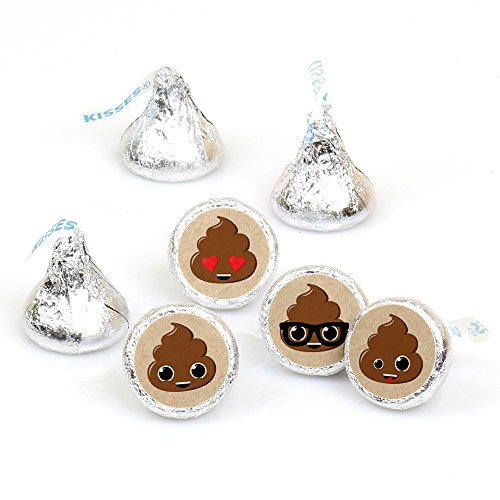Party 'Til You're Pooped - Poop Emoji Party Round Candy Sticker Favors - Labels Fit Hershey's Kisses (1 sheet of 108)