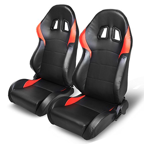 Bucket Seat Trim Parts - PVC Leather Black and Red Trim Reclinable Bucket Racing Seats (Driver and Passenger Side)