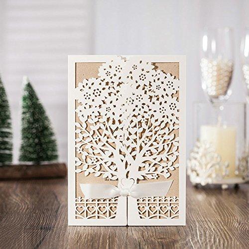 Elegant White Wedding Invitations Tree Design Kraft Paper Card Vintage Engagement Invitation Card CW6176 (100) by Wishmade