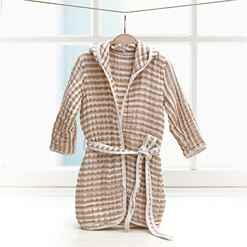 Towelling Bath Robe Children's Stripe Bathrobe Hooded Bathrobe Cotton Gauze Absorbent Bathrobe Bath Towel Wrap Nightwear (Color : Brown)