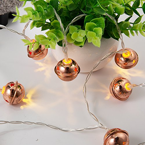 Bell Light 3 (Babaralight Jingle Bell Decor String Lights, 20 LED 10FT/3M Fairy String Lights, USB and AA Battery Operated for Home Wedding Party Bedroom Living Room Birthday Decoration (Warm White))
