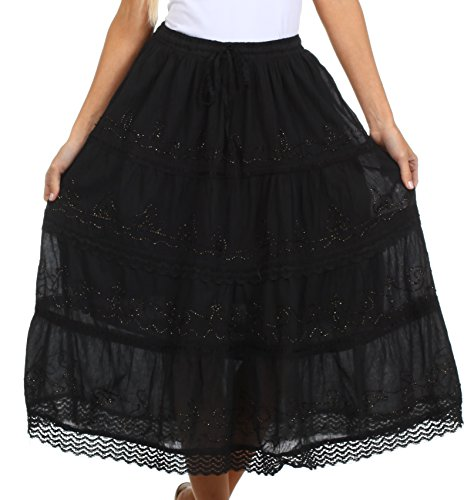 Sakkas 854 Solid Embroidered Crochet Lace Trim Gypsy Bohemian Mid Length Cotton Skirt - Black / One Size