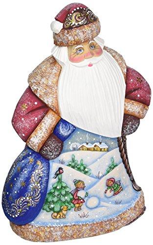 G. Debrekht Downhill Race Santa Hand-Painted Wood Carving