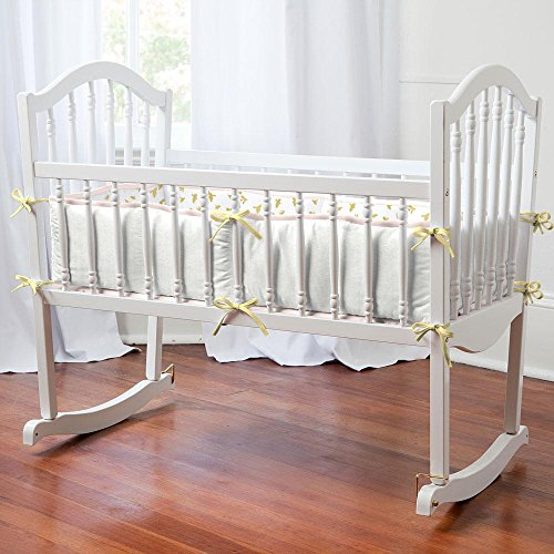 Carousel Designs Pale Pink and Gold Chevron Cradle Bumper