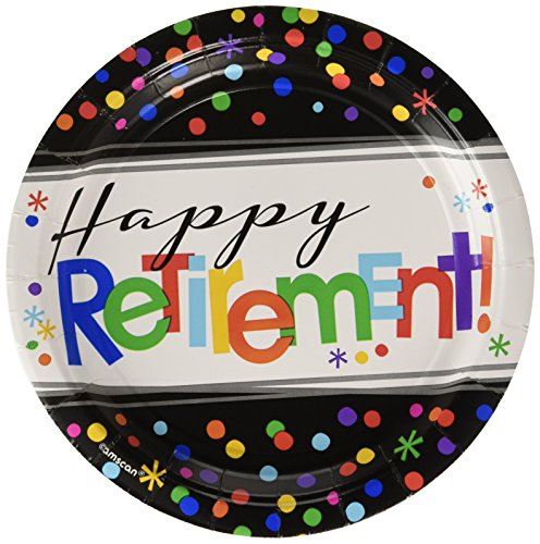 Amscan Fun-Filled Happy Retirement Round Dessert Childrens Party Plates , 96 Pieces