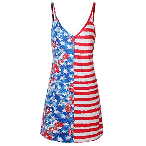 Huifa Patriotic Maternity Clothes Sleeveless Sundress Pregnancy American Flag 4th of July Dress (Blue,S) (Apparel Sun American Dress)