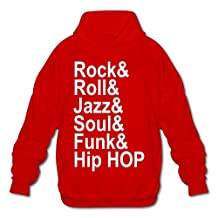SHHY Men's Rock & Roll & Soul & Funk & Jzz & Hip Hop Long Sleeve Hoodie Red