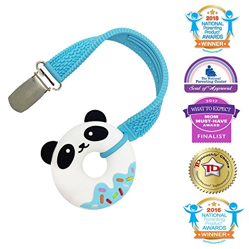 Silli Chews Easy to Hold Mini Panda Bear Donut Blue Silicone Teether with Clip No Throw Strap Set for Boys Textured Teething Toy Oral Stimulation Baby Product - Patented, Safety Tested, and Approved!
