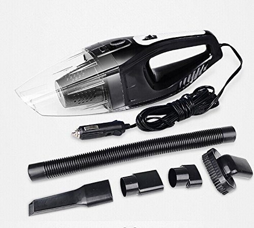Car Vacuum Cleaner / Portable Handheld Dry Wet Vacuum Cleaner and 5 Meter Extension Cord with Cigarette Lighter Plug / Handy Car Accessories / Black