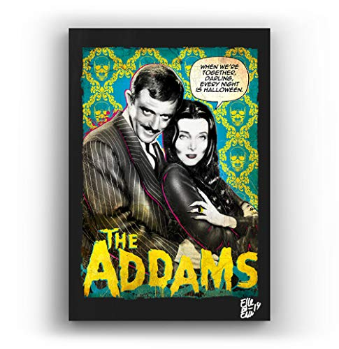 Gomez and Morticia from The Addams Family - Pop-Art Original Framed Fine Art Painting, Image on Canvas, Artwork, Movie Poster, Horror, Halloween -