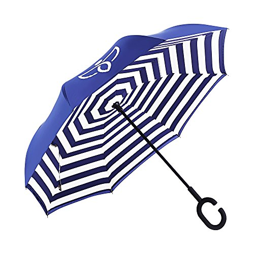 AlchemyNatura Innovative and Durable All-Weather Double Layer Inverted Umbrella with UV and Wind Protection and Reverse Closure