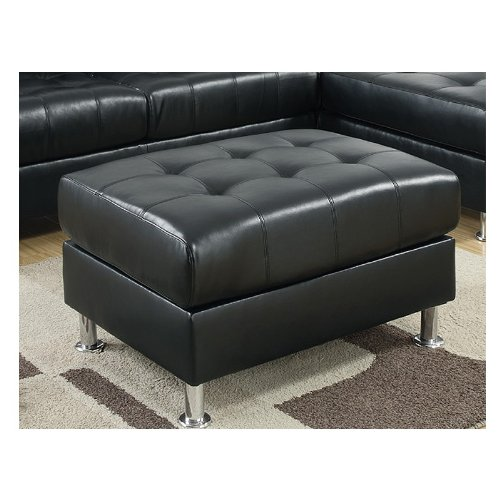 Tufted Ottoman in Black Bonded Leather by Poundex