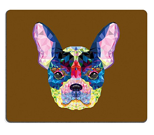 Liili Mouse Pad Natural Rubber Mousepad IMAGE ID: 26791745 French bulldog head in geometric pattern