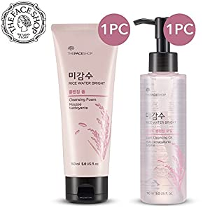 The Face Shop Rice Water Bright Cleansing Foam (150 mL/5.0 Oz) & Light Cleansing Oil (150 mL /5 Oz) Set, Moisturizing And Brightening Care For All Skin Types