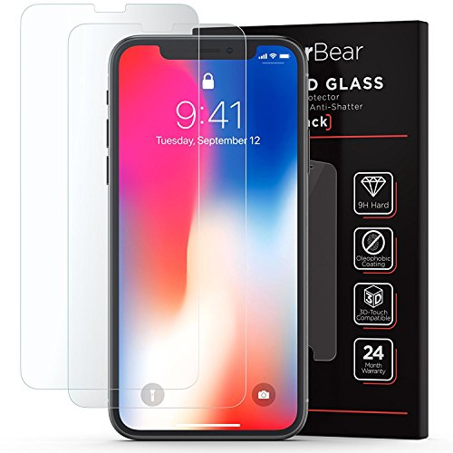 Tempered Glass Screen Protector iPhone X [2-Pack] PowerBear iPhone X Screen Protector [3D Touch] 9H Tempered Glass for Apple iPhone 10, Easy Install, High Definition, Shatterproof [24 Month Warranty]
