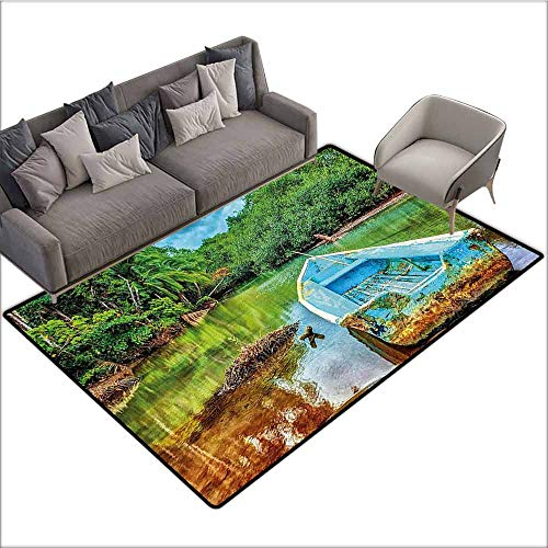 Large Floor Mats for Living Room Landscape,Old Boat in Tropical River in National Park of Costa Rica Nature Photo,Green Brown and Aqua 80