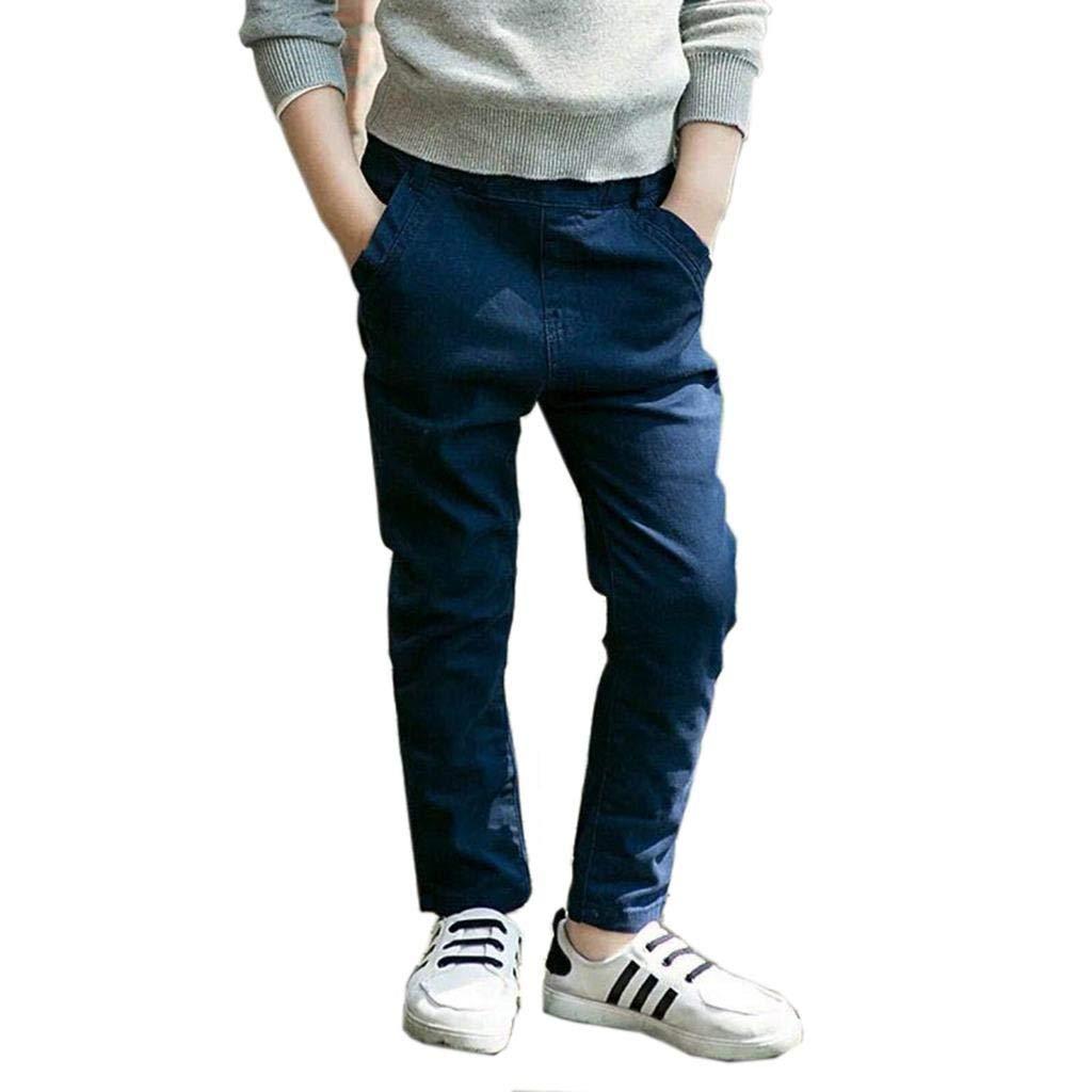 Cneokry Boys Pants Uniform Elastic Waist Trousers Size 4-13 Years