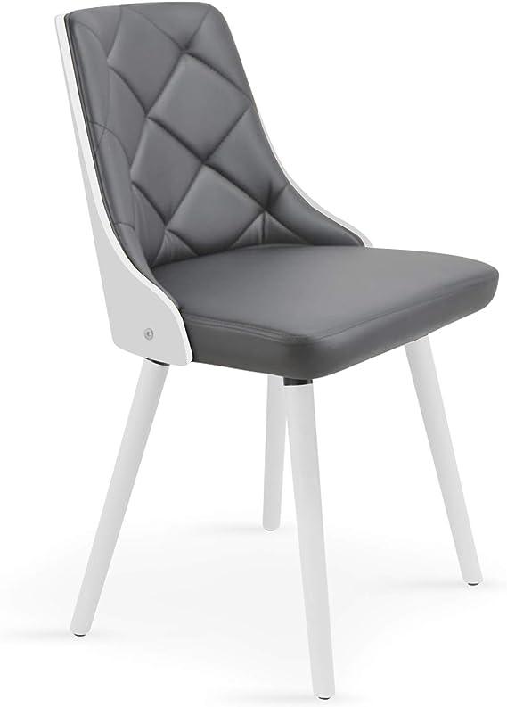 Menzzo Scandinaves lalix – Juego de 2 sillas Poliuretano Blanco/Gris 53 x 48 x 79 cm: Amazon.es: Hogar