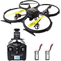 SGILE 2.4 GHZ WIFI APP IOS Android Remote Control Gyro Drone with FPV 720P HD Camera and 2 Free Batteries, 6-AXIS Hexacopter Drone with Altitude Hold/360° Rotation/Headless Mode for Boys Adults