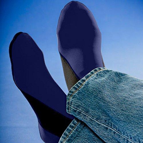 Nufoot Booties Chaussures Pour Hommes, Meilleures Chaussures Pliables Et Flexibles, Chaussures De Voyage Pliables Et Go, Chaussettes De Yoga, Chaussures Dintérieur, Pantoufles, Bleu Marine Avec Rayures Noires, Extra Large