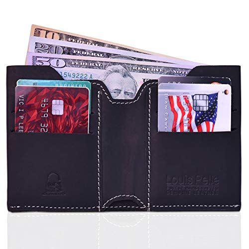 Louis Pelle Leather Men Minimalist Wallet RFID Blocking Bifold Slim Wallet ()