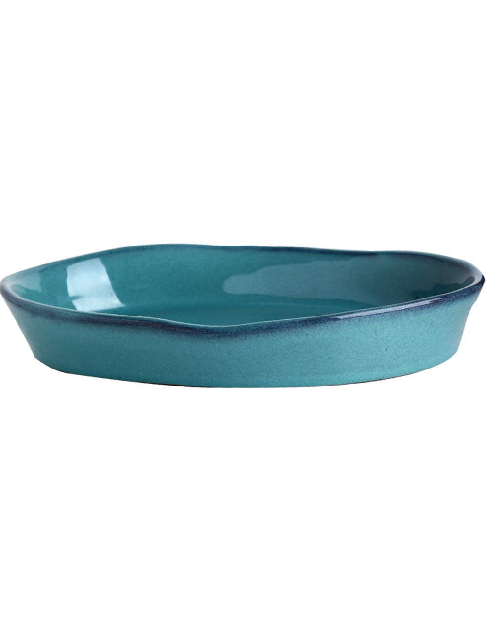 ZYear American Blue and Green Oval Plate Ceramic, Antalya Household Dish Large Fish Plate Salad Plate,Irregular Ellipse, Multi-Purpose, High Temperature Resistant Oven ZYear Y