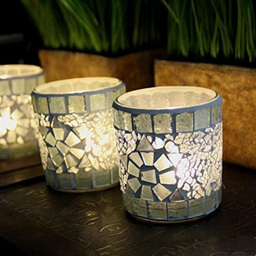 Mintu Candlestick, Simple Modern Handmade Silver Mosaic Glass Home Props (White Mosaic Silver)