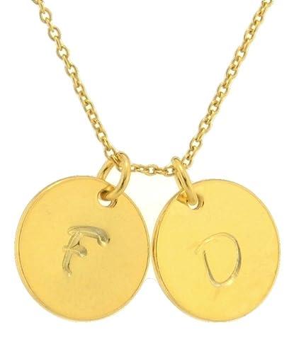 169eff2af6faf Amazon.com: Initial Necklace Gold Sterling Silver Custom Large ...