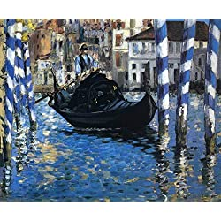 Waterscape Painting Artwork Venice Italy Gondola EXTRA LARGE Horizontal Blue Art The Grand Canal of Venice Edouard Manet Impressionist Impressionism Unframed Blue Home Wall Decor