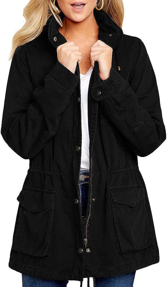 Military Anorak Safari  Woman/'sJacket with Pockets and Hood Jacket Coat S-L