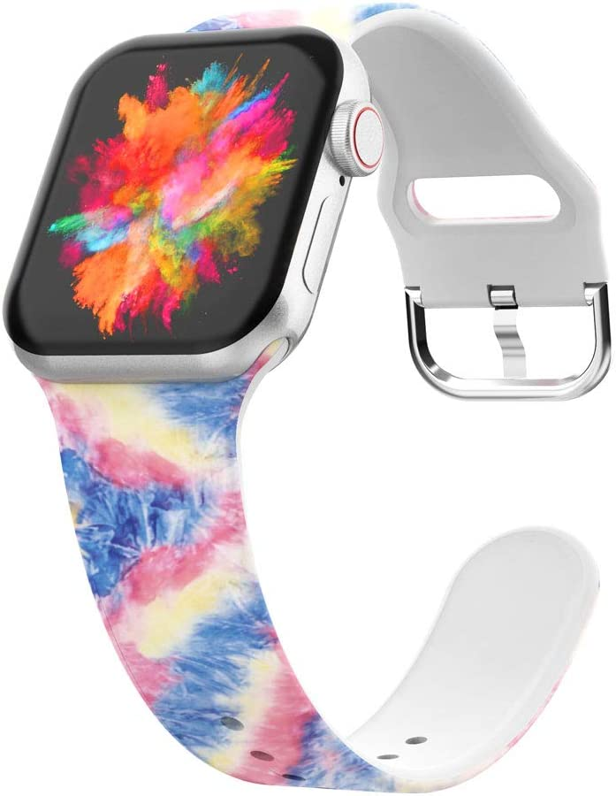 UooMoo Tie-dye Watch Band Compatible for Apple Watch Band 38mm 40mm,Soft Silicone Pattern Printed Bands Womens Replacement Sport Band Compatible for iWatch Series 6 5 4 3 2 1