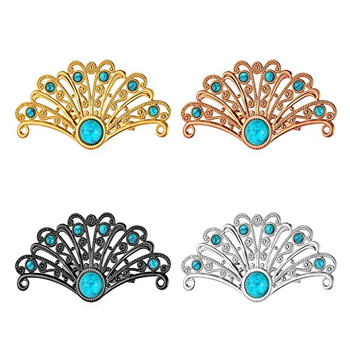 U7 Brooches Set 4 Pcs Women Men Accessories Turquoise Crystal Antique Inspired Peacock Bird Tail Custom Pin Brooches(1 Gold, 1 Rose Gold,1 Platinum,1 (Platinum Set Brooch)