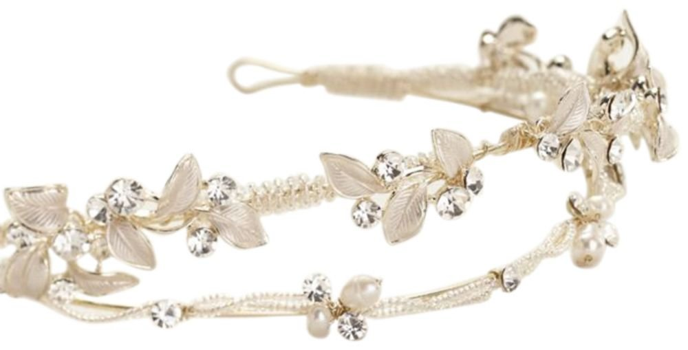 Double Row Crystal Beaded Leaf Tiara Style T9069, Champagne
