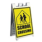 Signicade A-frame Business Sign and 2 Pre-Printed Graphics - 35. School Crossing Sign - Images for the front and back of Sidewalk Signage