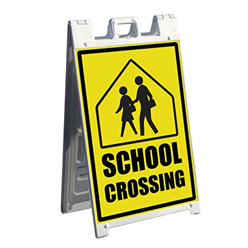 (wall26 Signicade A-Frame Business Sign and 2 Pre-Printed Graphics - 35. School Crossing Sign - Images for The Front and Back of Sidewalk Signage)