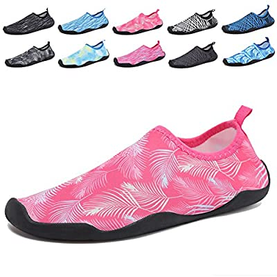 CIOR Multifunctional Barefoot Shoes Men Women Quick-Dry Water Shoes Aqua Socks for Beach Pool Surf Yoga,Pink02,39.40