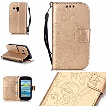 Galaxy s3 mini Case,Galaxy i8190 Case , Camiter Gold Embossing Butterfly Design Premium PU Leather Folio Protective Skin Cover Case for Samsung Galaxy S iii mini S3 Mini i8190(Build In Stand / Card Slot) (gold)