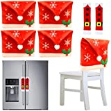 JOYIN 4Pcs Christmas Dining Chair Slipcovers with 2 Pcs Handle Door Covers Holiday Decorations Ornaments Set for Xmas Refrigerator Decoration, Xmas Indoor Décor, Party Favor Supplies
