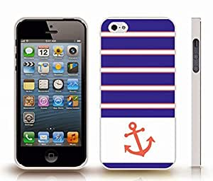 iPhone 4 Case with Chevron Pattern Blue Violet/ Peach Coral/ White Stripes, With Peach Coral Anchor , Snap-on Cover, Hard Carrying Case (White)