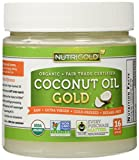 Organic Coconut Oil, Extra Virgin, Cold Pressed, Unrefined, Non-GMO - 16 ounce (1 lb.) Use for Cooking, Hair and Skin - Hexane-Free Extraction and Fair-Trade Certified