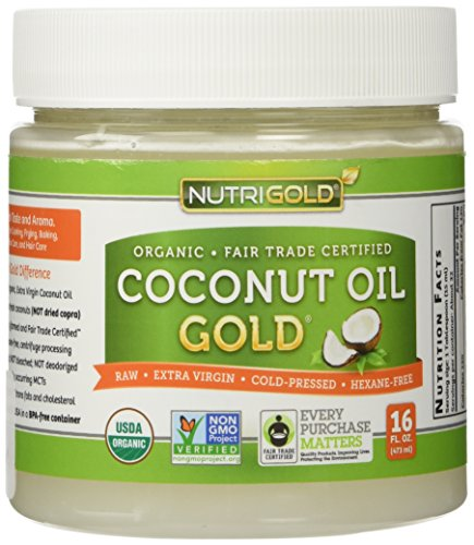 Organic Coconut Oil, Extra Virgin, Cold Pressed, Unrefined, Non-GMO – 16 ounce (1 lb.) Use for Cooking, Hair and Skin – Hexane-Free Extraction and Fair-Trade Certified