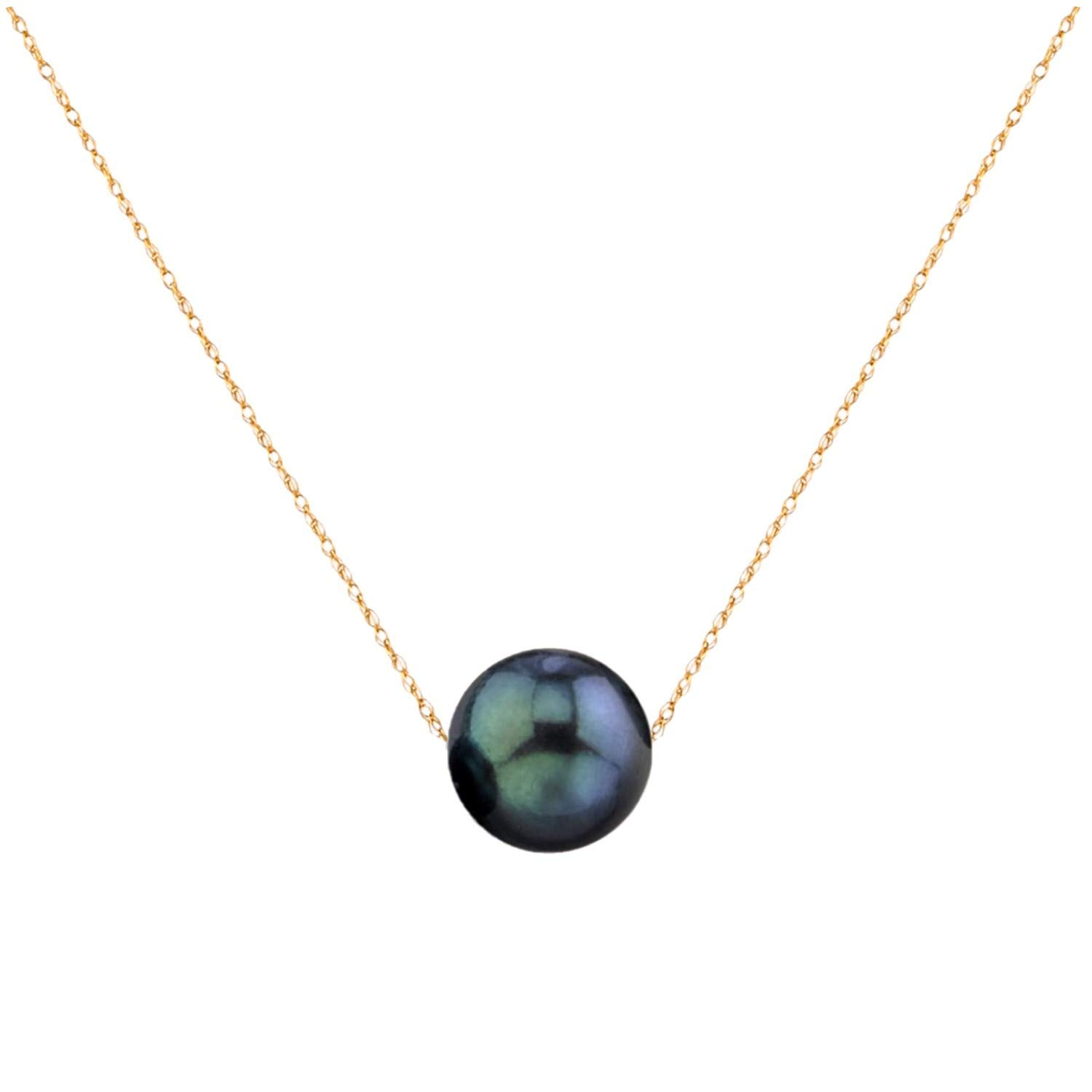 14K Gold 10-11mm Freshwater Cultured Floating Pearl Tin Cup Chain Necklace Jewelry for Women 17'' (Black, yellow-gold)