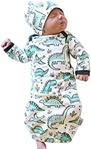 COLOOM Infant Baby Cartoon Dinosaur Pajamas Newborn Sleeper Gown Swaddle Hats 2Pcs Outfits Green