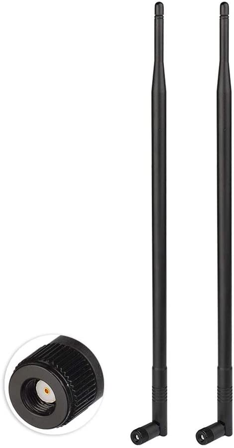 Eightwood Antena WiFi Antena 2.4G Antena inalámbrica 12dBi Tilt-and-Roll RP SMA Antena inalámbrica 2 Piezas para Tarjeta WiFi Tarjetas inalámbricas PCI Enrutador inalámbrico Bluetooth ZigBee
