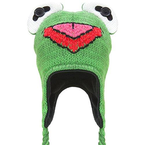 The Muppets - Unisex-child Muppets - Kermit Big Face Peruvian Knit Hat Green