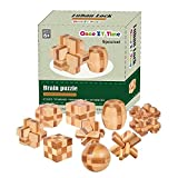 Once ZY Time Puzzles Wooden Puzzles Games Burr Puzzles Jigsaw Kongming Lock 3D Handmade Brain Teaser Toys Intellectual Removing Assembling Toy Educational Puzzles for Kids & Adults Mini Size 9pcs/Set