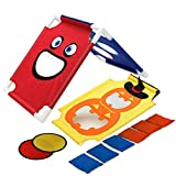 PELLOR Children Sports Sandbags Kids Cornhole Boards Throwing Game (Red/Blue, 18.9x15in)