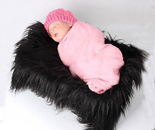 Baby Photo Props,Newborn DIY Photographic Mat Soft Warm Faux Fur Blanket By Makaor (Black, Szie:60cmx50cm/23.6