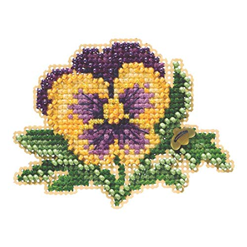 Tricolor Pansy Beaded Counted Cross Stitch Ornament Kit Mill Hill 2019 Spring Bouquet MH181911 - Pansy Flower Beads